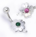 """Painful Pleasures MN1571 14g 3/8"""" Sterling Silver Flower Belly Piercing Jewelry"""