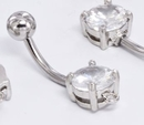 """Painful Pleasures MN1622 14g 7/16"""" 8mm Prong Set CZ Stone with Hoop"""