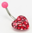 "Painful Pleasures MN1625 14g 7/16"" Heart RED Belly Jewelry"