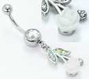 """Painful Pleasures MN1639 14g 7/16"""" Crystal Gem with AB White Rose Dangle Belly Ring"""