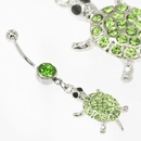 "Painful Pleasures MN1641 14g 7/16"" GREEN TURTLE Navel Belly Ring"