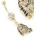 """Painful Pleasures MN1672 14g 7/16"""" Single Gem GOLD TONE Navel Jewelry with HOUSE CHARM"""