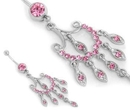 """Painful Pleasures MN1687 PINK Chandelier Dangle Piercing Jewelry for Belly Buttons 14g 7/16"""""""