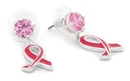 Painful Pleasures MN1694-pair Pink Stud with Pink Ribbon Dangles on 316L Steel Posts