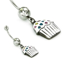 "Painful Pleasures MN1713 14g 7/16"" Belly Button Jewelry Cup Cake with Sprinkles Belly Button Ring White"