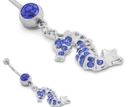 Painful Pleasures MN1716 14g Blue Stone-Studded Seahorse Belly Ring