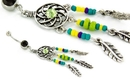 "Painful Pleasures MN1745 Dream Catcher Beaded Charm 14g 7/16"" Belly Button Navel Jewelry"