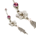 """Painful Pleasures MN1747 Pink Flower Dangle 14g 7/16"""" Belly Button Jewelry"""