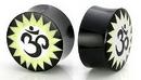 Elementals Organics ORG056 OHM Horn/Bone Dust Inlay Organic Plug Body jewelry - Price Per 1