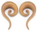 Elementals Organics ORG065 Red Saba Wood Spiral Hanger Earring - Price Per 1