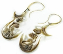 Elementals ORG1106-pair Skeleton BLACK Mother of Pearl Gold Plated Earrings -  Price Per 2
