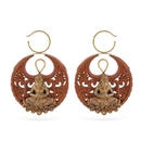 Elementals Organics ORG1195-pair 14g Nirvana Saba Wood Carved Earring with Bronze - Price Per 2