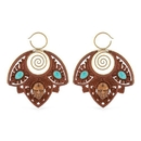 Elementals Organics ORG1197-pair 14g Spiral of Life Saba Wood Carved Earring with Crushed Turquoise Inlay and Bronze - Price Per 2