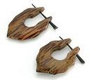 Elementals Organics ORG133-pair COCONUT WOOD Leaf A Cheaters - Stirrups Natural Body Jewelry - Price Per 2
