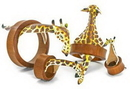 Elementals Organics ORG2000 GIRAFFE Fun 3D Leather on SABA Wood Tunnel 18mm up to 50mm - Price Per 1