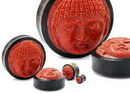 Elementals Organics ORG2013 Carved Red Coral Buddha Face on Areng Wood Base Solid Plug - Natural Organic Jewelry 8mm - 50mm Price Per 1