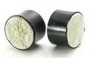 Elementals Organics ORG205 AZTEC FLOWER Carved Bone Inlayed on Horn Organic Plug Body Jewelry 10mm - 30mm - Price per 1