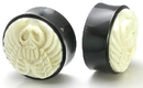 Elementals Organics ORG216 GHOST RIDER SKULL Carved Bone Inlayed on Horn Organic Plug Body Jewelry 10mm - 30mm - Price per 1