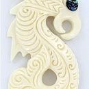 "Elementals Organics ORG260 Maori Design Pendant # 3 Bone Pendant with Abalone ""paua"" - Price Per 1"