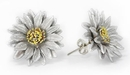 Elementals Organics ORG3000-pair Silver Leather Flower Earrings Standard Butterfly Clasp - Price Per 2