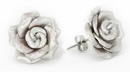 Elementals Organics ORG3002-pair Silver ROSE Leather Flower Earrings Standard Butterfly Clasp - Price Per 2