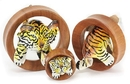 Elementals Organics ORG3007 TIGER Fun 3D Leather on SABA Wood Tunnel 20mm up to 50mm - Price Per 1