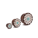Elementals Organics ORG3048 Turquoise Inlaid Mother of Pearl Flower Sono Wood Plug - 10mm-30mm - Price Per 1