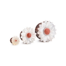 Elementals Organics ORG3049 Mother of Pearl Flower Sono Wood Plug with Coral Center - 8mm-30mm - Price Per 1