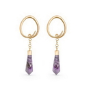 Elementals Organics ORG3152-PAIR 4g Amethyst Gold Plated Ovate Spiral Earrings - Price Per 2