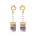Elementals Organics ORG3154-PAIR 0g Amethyst Waterfall Gold Plated Spiral Plug Earrings - Price Per 2