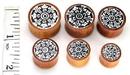 Elementals Organics ORG387 Dharma Circle Design on Red Saba Wood Plug Wholesale Organic Jewelry 14mm-24mm - Price Per 1