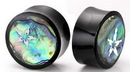 Elementals Organics ORG391 Horn Plug with Abalone Inlay and White Flower Organic Plug 8mm-24mm - Price Per 1
