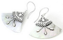 Elementals Organics ORG420-pair Mother of Pearl Design # 4 Fan with .925 Sterling Silver Earrings - Price Per 2