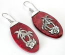 Elementals Organics ORG427-pair Red Coral Oval Tropical Design # 4 with .925 Sterling Silver - Earrings - Price Per 2