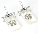 Elementals Organics ORG432-pair Mother of Pearl Rectangle Design # 3 with .925 Sterling Silver - Earrings - Price Per 2
