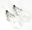 Elementals Organics ORG435-pair Mother of Pearl Tear Drop Design # 8 with .925 Sterling Silver - Earrings - Price Per 2