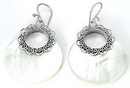 Elementals Organics ORG438-pair Mother of Pearl Round Design # 5 with .925 Sterling Silver - Earrings - Price Per 2