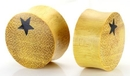 Elementals Organics ORG448 Single Star on Jackfruit Wood Body Jewelry 8mm - 25mm - Price Per 1