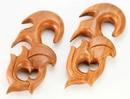 Elementals Organics ORG548 Red Saba Wood WARMONGER Hanger Earrings Organic Body Jewelry - Price Per 1