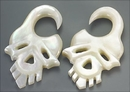 Elementals Organics ORG570-pair Mother of Pearl SKULL Intricate Hanger Organic Jewelry - 2mm-8mm - Price Per 2