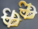 Elementals Organics ORG571-pair Mother of Pearl PUMPKIN FACE Intricate Hanger Organic Jewelry - 2mm-8mm - Price Per 2