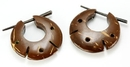 Elementals Organics ORG636-pair Coconut Shell Cheaters CS# 3- Stirrups Natural Body Jewelry - Price Per 2