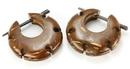 Elementals Organics ORG641-pair Coconut Shell Cheaters CS# 8- Stirrups Natural Body Jewelry - Price Per 2