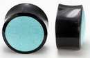 Elementals Organics ORG728 Horn Plug with CRUSHED TURQUOISE Inlay Organic Plug 8mm-24mm - Price Per 1