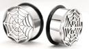 "Painful Pleasures P154 Single Flare Impression SPIDERS WEB Super High Polish Steel Ear Jewelry 00g - 1"" - Price Per 1"