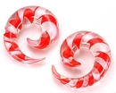 "Painful Pleasures P192 8g - 5/8"" Pyrex Glass RED/WHITE SPIRAL - Price Per 1"