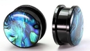 Painful Pleasures P222 Acrylic Threaded Tunnel with Front ABALONE SHELL in sizes 12g up to 1""