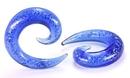"Painful Pleasures P241 8g - 5/8"" Pyrex Glass LT. BLUE Glitter SPIRAL - Price Per 1"