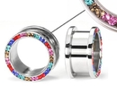 """Painful Pleasures P245 DE COLORES Threaded Tunnel  High Polish Steel Ear Jewelry 4mm - 1"""" - Price Per 1"""