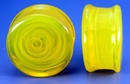 Painful Pleasures P257 FLAT PLUGS Swirl YELLOW Glass - Ear Gauge Jewelry - Price Per 1